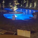 The pool by night, next to the bar