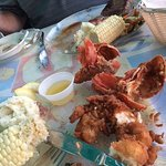 Fried lobster tail and strip steak, couldn't wait to eat, both great, pic had to wait!