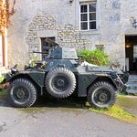 Armoured car in courtyard