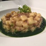 orange gnocchi with duck ragu and spinach puree (delicate and flavorful)