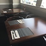 All new tables and chairs in the dining room.