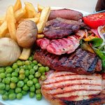 Mixed Grill (£15.95). Rump steak, lamb chop, pork chop, gammon and sausage.