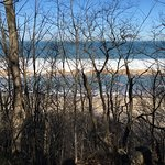 View from front of Inn -- lake freezing at beach