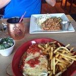Tofu Burrito, Broccoli Salad, something with meat