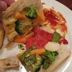 Inside my veggie panini. You can see all the components of a bag of frozen stir fry vegetables.