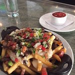 Bar food - fries and meet/salsa (very tasty)
