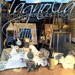 Storefront window featuring interesting finds