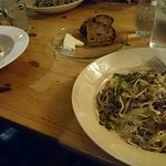 Pasta with Aspargus and mushrooms and bread as a starter