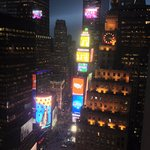 View of the heart of Times Square from our room