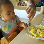 Breakfast at Lugerfarm! Best in Austria so far. She even made a scrambled egg for my 11months ol