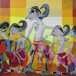 Pandawa, size:145 cm x185 cm,acrylic on canvas,artist Suryani,Seminyak Bali
