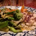 """Lost in the Garden"" is sauteed fresh mixed veggies-add chicken,beef, pork,shrimp"