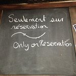 Sur reservation seulement/ Only on reservation