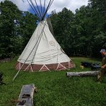 A shot of the sacred teepee near the main campfire site.
