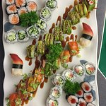 Tuna roll, cucumber roll, Caterpillar, surf calm, rainbow, Philadelphia, spicy tuna