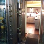 Breakfast is laid out in the vault of the former bank. Cool