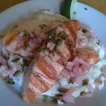 Ciderday salmon with mashed potatoes infused in horseradish (small plate)