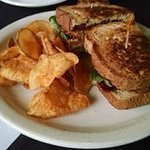 Fried green tomato BLT and kettle chips