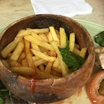 The bowl containing the fries, take a look at those cracks and the discoloured bowl.