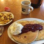 Raspberry Pancakes, Potatoes and Coffee