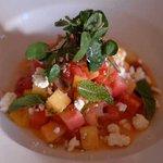 fresh heirloom tomato and mellon salad