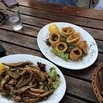 Fried sardines and calamari