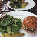 Crab Burger and Lamb burger with house salads