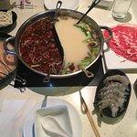 Half/half hot pot, ribeye, chicken, shrimp, soba noodles, bok choy