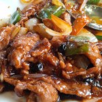 Beef black bean and green peppers