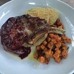 Pork Chop with fried green tomatoes and roasted sweet potatoes - excellent!