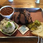 Brisket plate, beans and potato salad for lunch