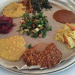 Vegetarian platter and lentil sambusas