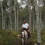Tiny my horse) and I in one of the many Aspen Groves