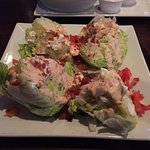 This is the wedge salad. It's a whole head of lettuce!!! Delicious!