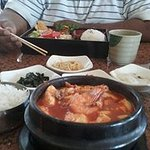 "Salmon Bulgogi Lunch Box and Shrimp, Beef , Clam and Soft Tofu "" SoondooBoo """