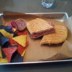 Cabane à sucre sandwich, with nachos and home-made salsa