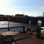morning view of river/ bridge