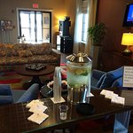 Front lobby. Note lemon-lime water available.