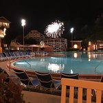 Hollywood Studios fireworks over the pool area