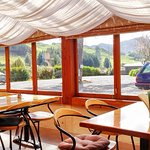 Waitete Orchard Restaurant - view from inside looking towards Waihi hills East