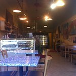 Blue/white marble tables and deli atmosphere
