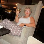 Chilling with a glass of chilled wine
