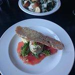 starters. smoked salmon, smoked mackerel pate and crostini. Chicken & chorizo caesar salad