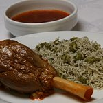 lamb shank with green rice,a very traditinal  Persian Dish
