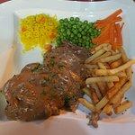 Steak in pepper sauce.