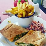 Grilled halloumi wrap with a side of chips