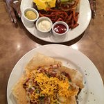 American Cheese Burger w/Sweet potato Fries- The shrimp & grits in taco shell