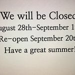 Closed for summer vacation!