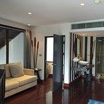 Sitting area & bathroom area of the upstairs bedroom