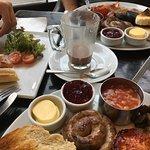 Breakfast platters and double bacon baguette